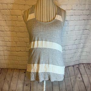 Haute Hippie gray & white striped racerback T, M